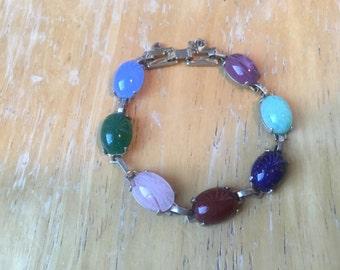 Multicolored Cabochon 7 Gem Stone Gold Plated Bracelet