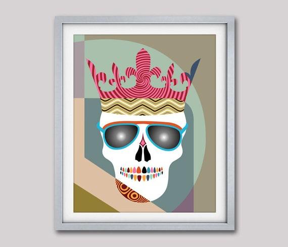 Skull Wall Art Print, Skull Crown, Skull Glasses, Skull Poster, Skull Wall Hanging, Skull Decor, Skull Drawing, Skull