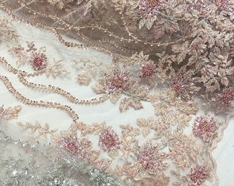 pink bead lace fabric, heavy beading lace fabric, bridal lace fabric with beading embroidery, by the yard