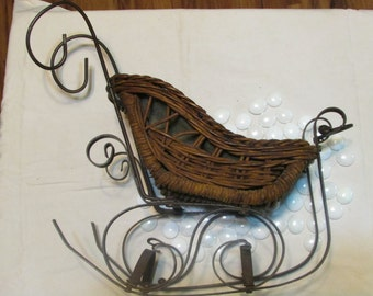 vintage Christmas large  sleigh tabletop decoration