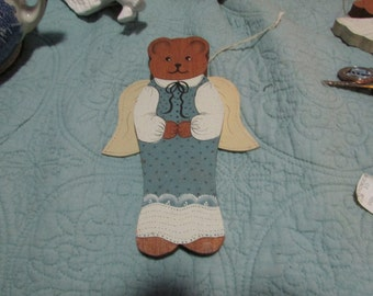 Vintage wooden Christmas angel bear ornament blue and white