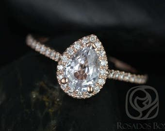 Rosados Box Ready to Ship Tabitha 7x5mm 14kt YELLOW Gold Pear White Sapphire and Diamonds Halo Engagement Ring