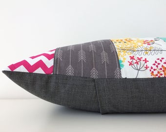 Patchwork Pillow Cover, Lumbar, Gray, Bright Pink, Turquoise, White, Modern, 12x18, Nursery, Kids, Color Pattern Block, Chevron, Arrows