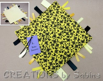 Butterflies Baby Tag Blanket Toy, Sensory Lovie Ribbon Blankie Gender Neutral Unisex Yellow Black Minky Dots Woodland READY TO SHIP (269)