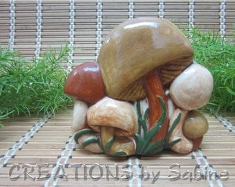 Vintage Ceramic Mushroom Napkin Holder / Toad Stool / Brown Green Tan Beige Woodland / Retro Nature Natural Nightshade / FREE SHIPPING (616)