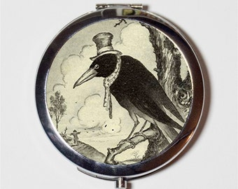 Hobo Crow Compact Mirror - Whimsical Blackbird Black Bird in Hat on Branch - Make Up Pocket Mirror for Cosmetics
