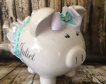 LARGE mint piggy bank, white and mint tutu, custom piggy bank, girl bank, birthday banks, custom piggy banks, baby's first piggy bank