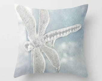 Iced Dragonfly Pillow Cover - Fantasy Photography Cushion, Blue, Teal, Wings, Dreamy Home Decor, Winter, Snow Flakes, Ice Blue