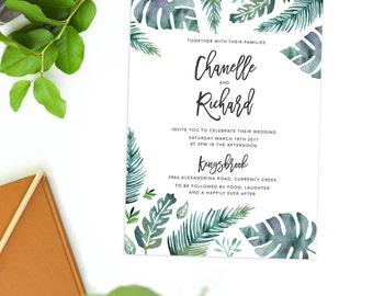 Tropical Green Watercolor Wedding Invitation Watercolour Stationery Calligraphy Summer Wedding Invite Invitations Fern Leaves