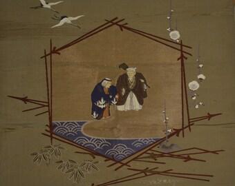 Fukusa cloth, large, the legend of Takasago, Japanese celebration cloth