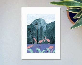 Illustration, Affiche, Impression sur papier, Les flamants roses