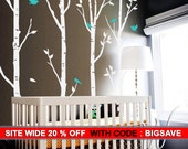 Birch Trees and Birds wall decal
