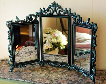 Vintage Trifold Mirror Syroco Wood Hand Painted Black Iridescent Teal - Dresser Mirror - Vanity Mirror - French Provincial