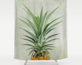 pineapple shower curtain extra long shower curtain tropical shower curtain green custom