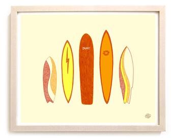 "Surfing Art Print ""Icons"""