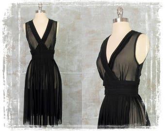 Banana Republic Dress, Sheer Black Dress, Fitted Dress, Pleat Skirt Dress, Sexy Dress, Evening Dress, Day Dress, Medium
