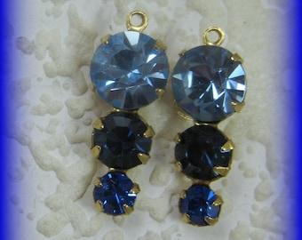 22MM, Swarovski Crystals Light Sapphire 3 Blues Crystal Upside Down 3 Tier Multi Setting Round