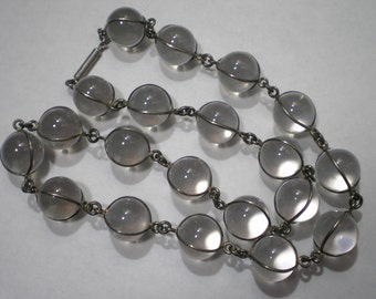 Antique Vintage Sterling Silver Pools of Light Rock Crystal Orb Necklace 17 Inches