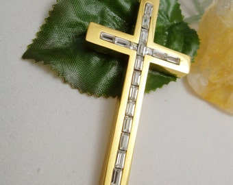 New, 30 x 60 mm Gold Plated over Stainless Steel and Clear Crystals Cross Pendant.Free Shipping