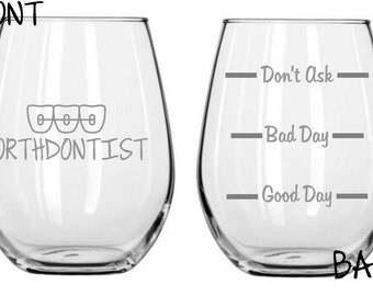 Orthodontist Sand Carved Glass FREE Personalization