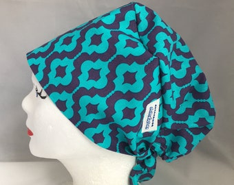 Scrub Hat Tie Back Pixie Style, Purple and Turquoise Geometric Design