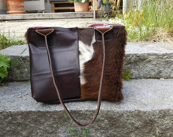 "KUHIE®, brown leather and cow fur bag ""Shoppie"" from Brown and white cowhide"