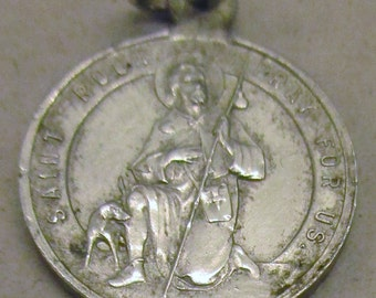 Beautiful Unusual Vintage St Roch ( patron saint of dogs) and St Francis of Asissi Medal - circa 1950s