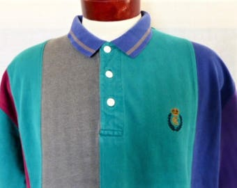 vintage 90's Chaps Ralph Lauren color block herringbone knit polo shirt color block purple teal green magenta pink grey embroidered logo XL