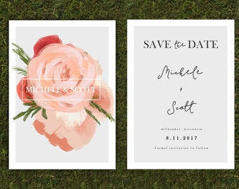 Floral Front and Back Save the Date
