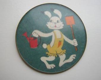 Vintage soviet USSR metal pin badge Rabbit farmer