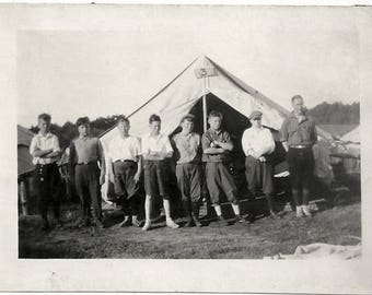 Old Photo Boys Standing by Tent with Counselor Camping 1920s Photograph Snapshot vintage