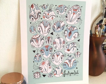 Find Your Tribe Print - Illustration Wall Art