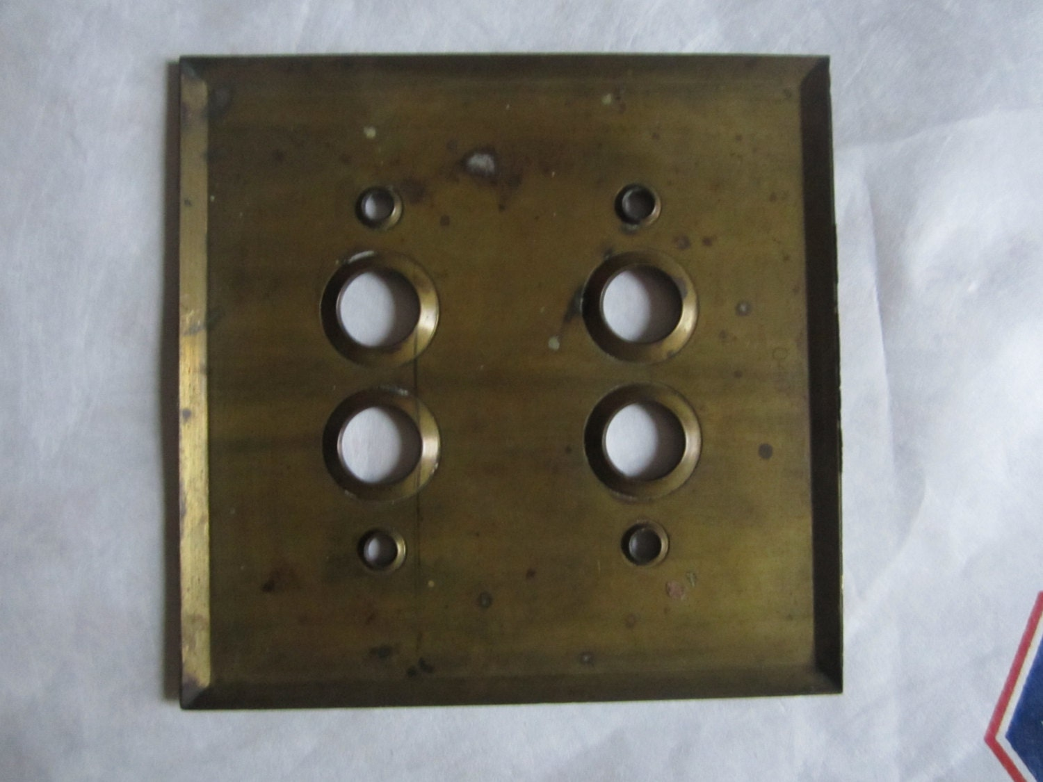 Antique Electrical Light Switch Pushbutton Brass Cover