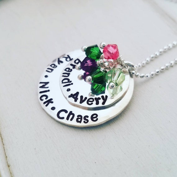 Personalized Grandmother Necklace, Birthstone jewelry, Sterling Silver Name Necklace, Nana Necklace, Personalized Mother necklace, 5 Names