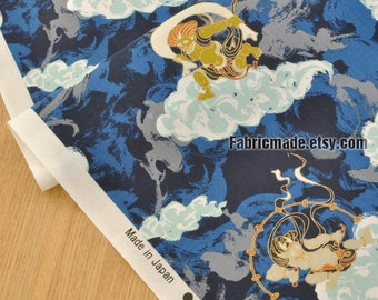 Japanese Cotton Fabric, Vintage China Thor Cloud On Black Red Blue Cotton - 1/2 yard