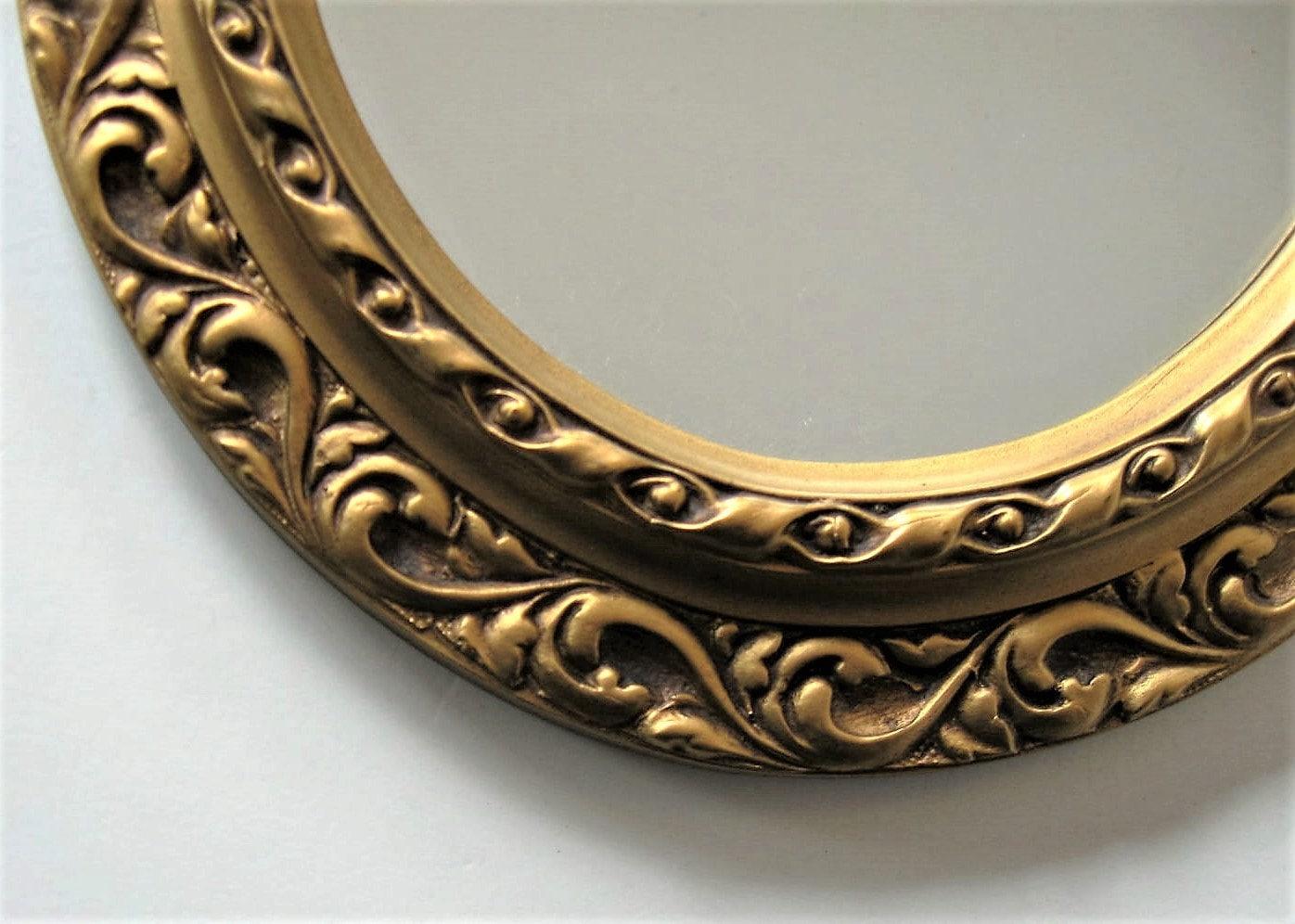 Vintage Oval Gold Framed Mirror Raised Ornate Scroll Work