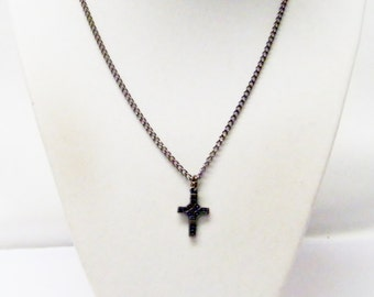 Small Dark Antique Silver Plated Celtic Style Cross Charm Necklace
