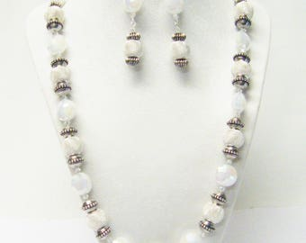 Silver Plated Mesh w/Opaque AB Luster White Faceted Glass Beads Necklace & Earrings Set