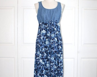 SALE Vintage Blue Jean & Floral Maxi Dress . 1990s All That Jazz Denim Bodice and Floral Rayon Skirt . Sleeveless Sundress . Size 11/12