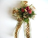 Large bow for Christmas wreaths, Red and gold Christmas bow, Gift wrapping decoration, Holiday tree bow, Large Christmas gift bow,  (C569)