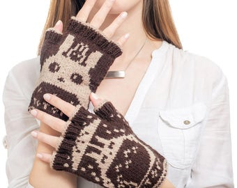 Totoro Fingerless Gloves - Hand-Knit From Pure Merino Wool Totoro Gloves Arm Warmers Merino Fingerless Gloves Texting Gloves Brown Gloves