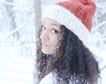 Womens winter hat, Knit slouchy hat - Knit hat - The Paku- Two toned knit hat