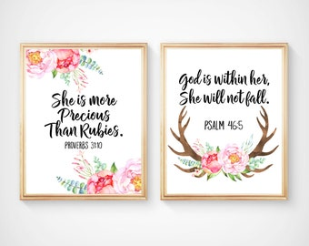 Bible Verses Nursery Prints, She is more Precious than Rubies, God is within Her, She will not Fall, Baby Watercolor Art Print,  BF-2038