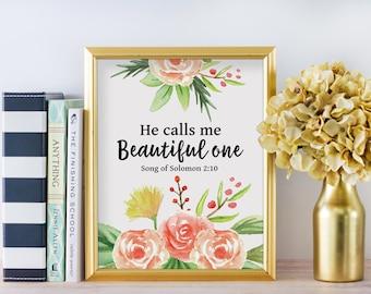 He Calls Me Beautiful One, Bible Verse Art Print, Watercolor Home Decor, Christian Nursery Print, Christian Home Decor, Baby Decor, A-1303