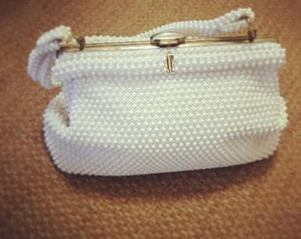 Vintage White Beaded Clutch, Purse, Handbag.