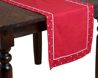 """Christmas Red Table Runner 