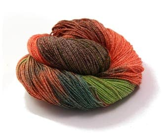 Hand Dyed Yarn Sock Yarn - Hand painted Sock Yarn Silk - Yarn Fingering - indie dyed yarn - kinitting - OOAK - brown, orange, green