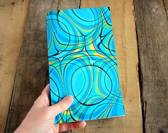 Handmade Blank Book - Notebook, Travel Journal, Art Journal - Hand-Marbled Paperback Cover - Item #8001