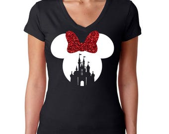 S - FULL GLITTER Minnie Mouse Castle Black w/ Red and White Bow*  V Neck Cap Sleeve Shirt * Jersey Top * Run Disney * Disneyland/World