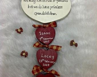 Personalised Grandparents Grandchildren's Hearts with Names Birthdays